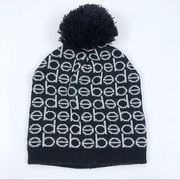Bebe Black Pom Pom Beanie Hat